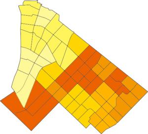 浦安市丁目別投票率色分け