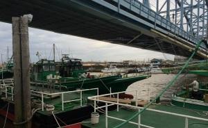 鉄橋下の船