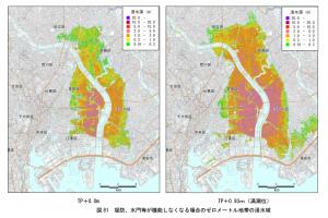 堤防や水門が機能しない場合は浦安市も一部浸水
